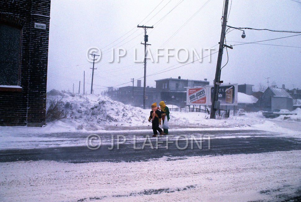 Quebec, Canada, March 1978. Winter Daily life in Quebec City.