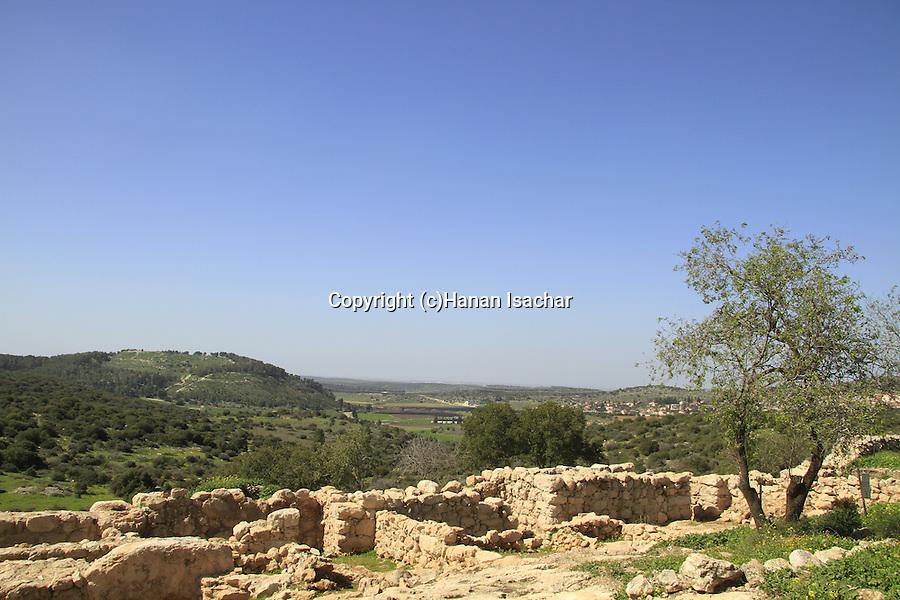 Israel, Shephelah, Haelah fortress at Khirbet Qeiyafa overlooking Haelah valley, Tel Azekah is in the background