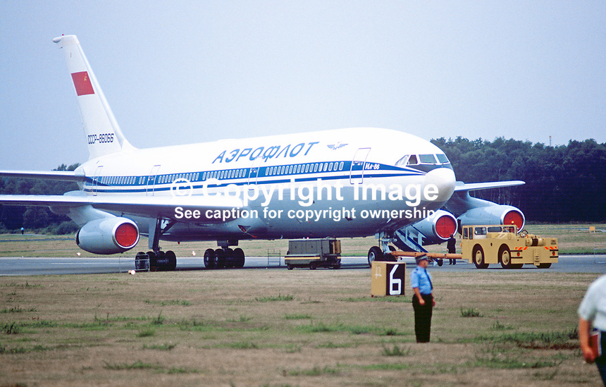 Ilyusin 11-86 wide-bodied Russian-built aircraft in Aeroflot livery at Farnborough Air Show, UK, September, 1984, 19840115ILY<br />