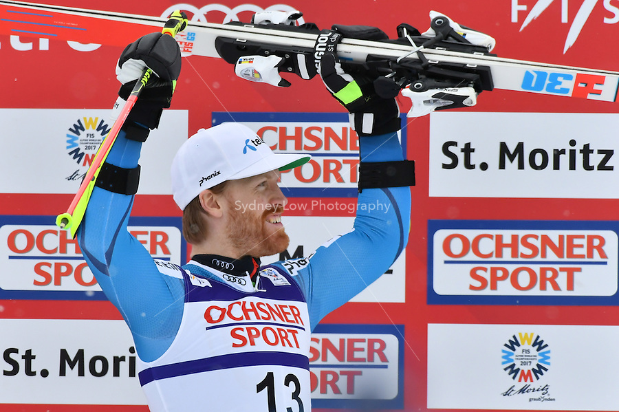 February 17, 2017: Leif Kristian HAUGEN (NOR) celebrates his bronze medal in the men's giant slalom event at the FIS Alpine World Ski Championships at St Moritz, Switzerland. Photo Sydney Low