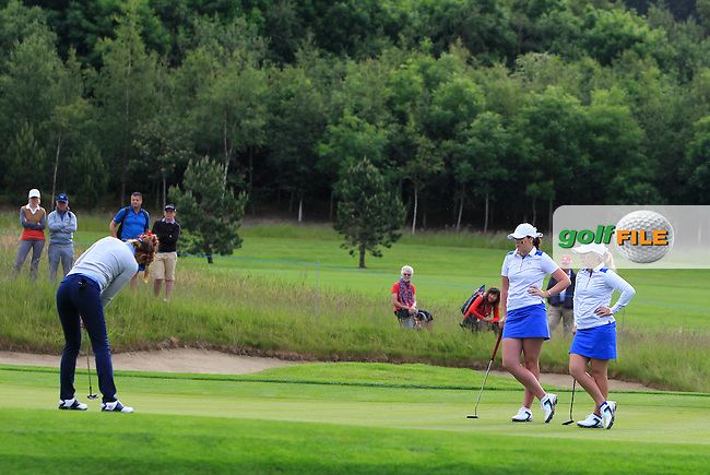 Hannah O'Sullivan on the 1st green during the Friday morning Foursomes of the 2016 Curtis Cup at Dun Laoghaire Golf Club on Friday 10th June 2016.<br /> Picture:  Golffile | Thos Caffrey