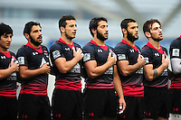 Georgia U20 players sing the national anthem prior to the match. World Rugby U20 Championship match between Wales U20 and Georgia U20 on June 11, 2016 at the Manchester City Academy Stadium in Manchester, England. Photo by: Patrick Khachfe / Onside Images