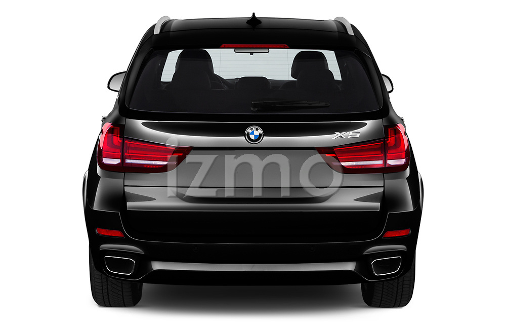 Straight rear view of a 2018 BMW X5 xDrive40e 4WD 5 Door SUV stock images