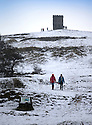 29/01/17<br /> <br /> Following overnight snowfall, walkers explore the snow near Grinlow Tower,  Buxton in the Derbyshire Peak District.<br /> <br /> All Rights Reserved F Stop Press Ltd. (0)1773 550665 www.fstoppress.com