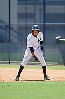 GCL Yankees East left fielder Alexander Santana (31) leads off first base during a game against the GCL Blue Jays on August 2, 2018 at Yankee Complex in Tampa, Florida.  GCL Yankees East defeated GCL Blue Jays 5-4.  (Mike Janes/Four Seam Images)