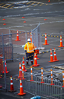 Roadworks  at corner of Hinemoa Street and Waterloo Quay at 9am, Friday during Level 3 lockdown for the COVID-19 pandemic in Wellington CBD, New Zealand on Friday, 1 May 2020. Photo: Dave Lintott / lintottphoto.co.nz