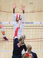 STANFORD, CA - November 4, 2018: Tami Alade at Maples Pavilion. No. 2 Stanford Cardinal defeated the Utah Utes 3-0.