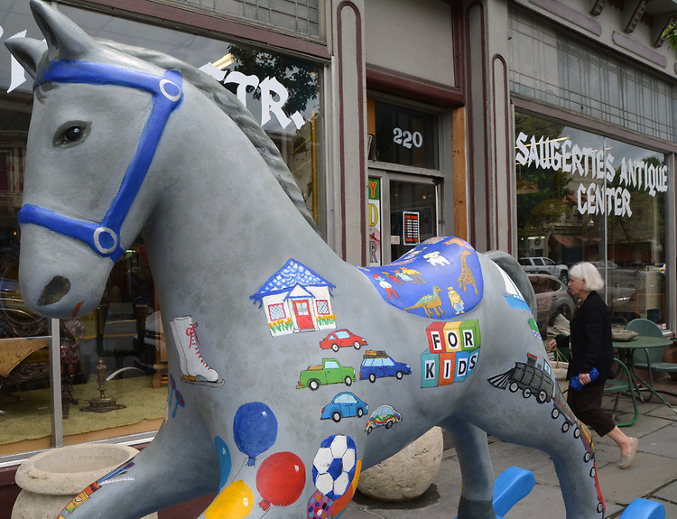 "A view of ""Toys R Rockin'"" created by artist, Mary Boschert, one of the ""Rockin' Around Saugerties"" theme Statues on display throughout the Village of Saugerties, NY, on Friday, May 26, 2017. Photo by Jim Peppler. Copyright/Jim Peppler-2017."