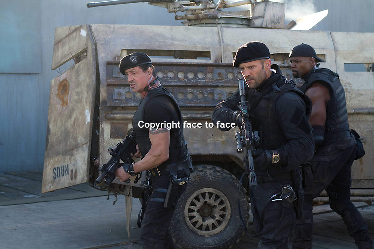 Barney Ross (Sylvester Stallone), Lee Christmas (Jason Statham), Hale Caesar (Terry Crews) in The Expendables 2 (German title: THE EXPENDABLES 2)...- Editorial Use Only -..Supplied by face to face