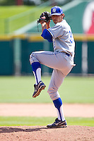Brandon Dorsett (33) of the Indiana State Sycamores winds up during a game against the Evansville Purple Aces in the 2012 Missouri Valley Conference Championship Tournament at Hammons Field on May 23, 2012 in Springfield, Missouri. (David Welker/Four Seam Images).