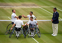 Gordon Reid (left near) and Alfie Hewett (2) shake hands  before their Gentlemen's Wheelchair Doubles Final on Court 3 against Stephane Houdet and Nicolas Peifer (1) of France, umpired by Rafael Maia of Spain<br /> <br /> Photographer Ashley Western/CameraSport<br /> <br /> Wimbledon Lawn Tennis Championships - Day 12 - Saturday 15th July 2017 -  All England Lawn Tennis and Croquet Club - Wimbledon - London - England<br /> <br /> World Copyright &not;&copy; 2017 CameraSport. All rights reserved. 43 Linden Ave. Countesthorpe. Leicester. England. LE8 5PG - Tel: +44 (0) 116 277 4147 - admin@camerasport.com - www.camerasport.com