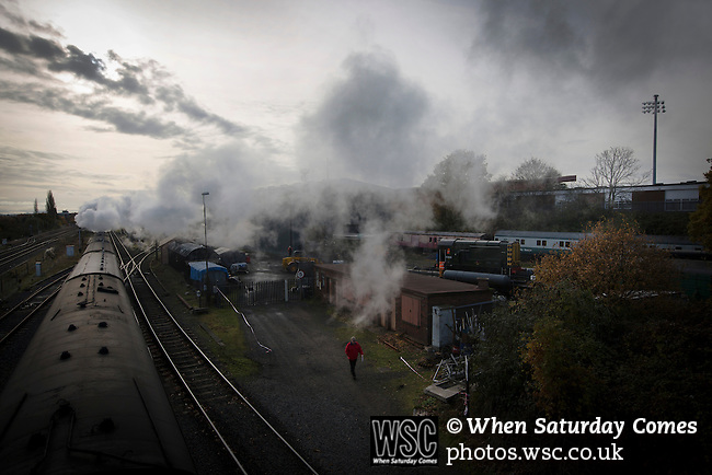 Kidderminster Harriers 3 Gainsborough Trinity 0, 19/11/2016. Aggborough, National League North. A steam train on the Severn Valley Railway passing Aggborough, home of Kidderminster Harriers, pictured before they played visitors Gainsborough Trinity in a National League North fixture. Harriers were formed in 1886 and have played at their current home since 1890. They won this match  by 3-0 watched by a crowd of 1465. Photo by Colin McPherson.