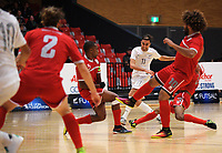 Lucas Cordeiro Osorio Da Silva shoots for goal during the international men's futsal match between the NZ Futsal Whites and New Caledonia at Baypark Arena in Mount Maunganui, New Zealand on Thursday, 14 September 2017. Photo: Dave Lintott / lintottphoto.co.nz
