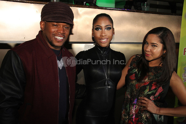NEW YORK, NY - DECEMBER 16: Sway Calloway & Sevyn Streeter & Angela Yee at the Beautiful Textures Upfront 2014 at ARENA December 16, 2013 in New York City. Credit: Walik Goshorn / MediaPunch Inc.