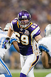 Minnesota Vikings defensive lineman Jared Allen (69) plays defense during an NFL football game against the Detroit Lions in Minneapolis, Minnesota on September 26, 2010. The Vikings won 24-10. (AP Photo/David Stluka)