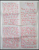 BNPS.co.uk (01202 558833)<br /> Pic:  PeterWilson/BNPS<br /> <br /> The letter from Donie to her brother George Jones, expressing her surprise at receiving a letter from an airship but also having to pay 3d extra stamp duty.<br /> <br /> A charming letter which was carried on the first airship to cross the Atlantic has come to light 100 years later.<br /> <br /> Reverend George Jones, who was stationed at the Royal Naval Air Station East Fortune near Edinburgh, wanted to surprise his sister Donie by sending her a letter from America.<br /> <br /> So he gave the letter to one of the crew of airship R34 ahead of the historic flight on July 2, 1919, and asked him to post it to Donie from New York.<br /> <br /> He obliged and the letter reached its final destination in Bournemouth, Dorset, several months later as it made the return journey via ship.