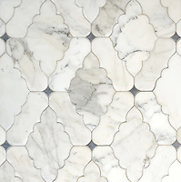 Ganesha, a waterjet stone, mosaic shown in Calacatta Tia and Bardiglio with a venetian finish, is part of the Silk Road Collection by Sara Baldwin for New Ravenna Mosaics.