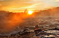 Sunset along Firehole drive, Lower Geyser Basin in Yellowstone National Park