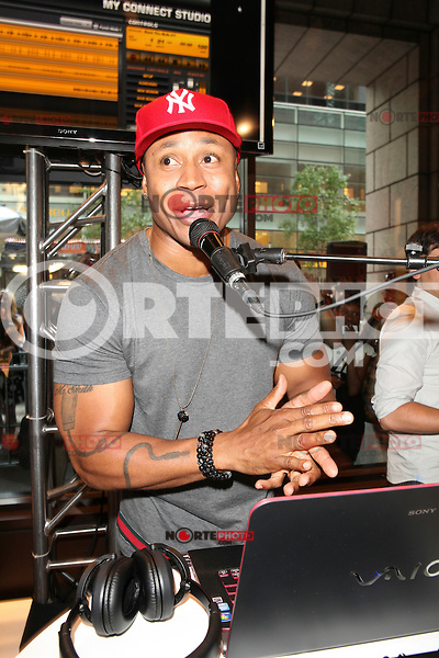 Grammy Award-winning rapper, LL Cool J  appears at an in store to demonstrate Sony's new software application 'My Connect Studio' for the VAIO E14P laptop at the new Sony store in New York City. June 20, 2012. &copy; Diego Corredor/MediaPunch Inc NORTEPHOTO.COM<br />