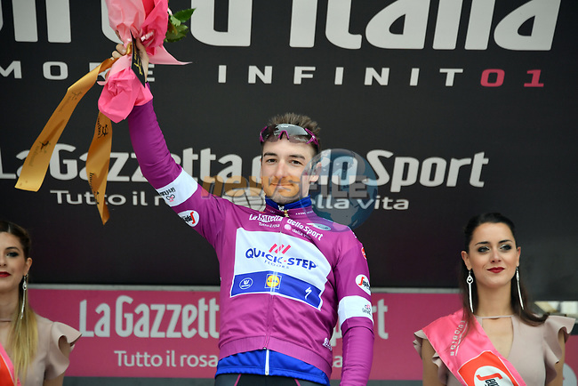 Elia Viviani (ITA) Quick-Step Floors retains the Maglia Ciclamino at the end of Stage 20 of the 2018 Giro d'Italia, running 214km from Susa to Cervinia is the final mountain stage, with the last three climbs of Giro 101 deciding the GC of the Corsa Rosa, Italy. 26th May 2018.<br /> Picture: LaPresse/Gian Mattia D'Alberto | Cyclefile<br /> <br /> <br /> All photos usage must carry mandatory copyright credit (© Cyclefile | LaPresse/Gian Mattia D'Alberto)