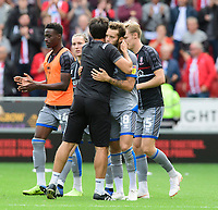 Lincoln City manager Danny Cowley, left, hugs Lincoln City's Jorge Grant at the end of the game<br /> <br /> Photographer Chris Vaughan/CameraSport<br /> <br /> The EFL Sky Bet Championship - Rotherham United v Lincoln City - Saturday 10th August 2019 - New York Stadium - Rotherham<br /> <br /> World Copyright © 2019 CameraSport. All rights reserved. 43 Linden Ave. Countesthorpe. Leicester. England. LE8 5PG - Tel: +44 (0) 116 277 4147 - admin@camerasport.com - www.camerasport.com