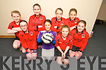 Fossa Team Front l-r Lucy McGurry, Fiona Galvin, Aoife Kissane Maud Kelly, Back l-r Aoife Doody, Sarah O'Neill, Anna Clifford and Ciara Kennelly, at the U13 Boys and Girls Kerry Community Indoor Soccer finals at Mountcoal sports Centre on Sunday