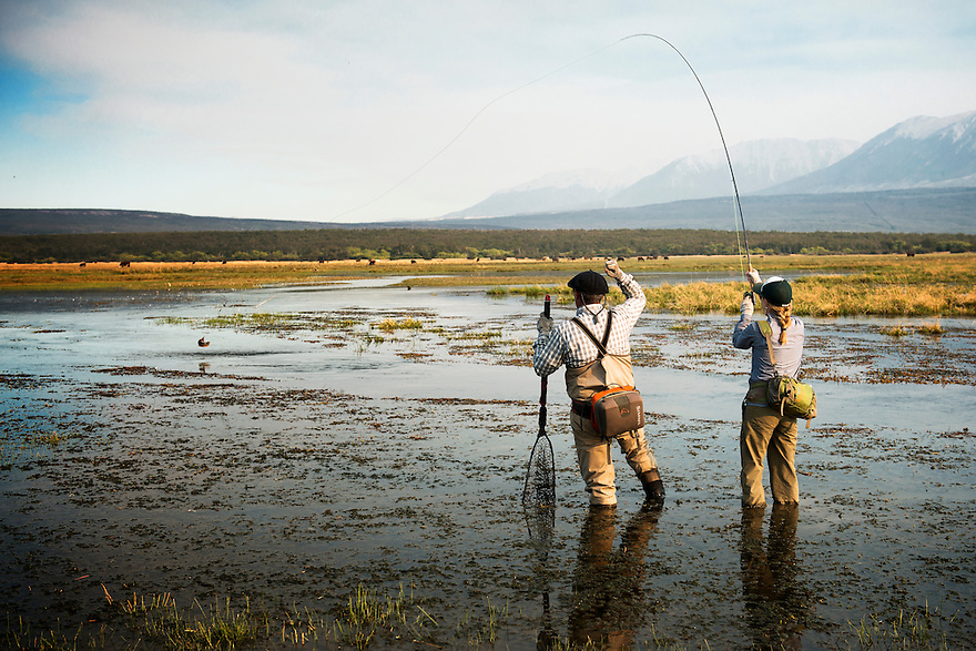 Christine Marozick hooks up with a brown trout on the Rio Pico in central Patagonia.