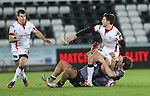 Ulster wing Mike Allen finds fullback Louis Ludik in support as he's tackled by Ospreys pair Josh Matavesi and Andrew Bishop.<br /> Guiness Pro12<br /> Ospreys v Ulster<br /> 20.12.14<br /> ©Steve Pope -SPORTINGWALES