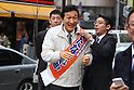 March 25, 2011, Tokyo, Japan - Japanese business entrepreneur Miki Watanabe, running for governor of Tokyo, arrives at Shimbashi district in Tokyo before he addresses on Friday, March 25, 2011. Watanabe, the founder of a chain of casual pubs, is running in the April 10 election, attempting to make the big jump from business manager to big-time politician. (Photo by YUTAKA/AFLO) [1040] -ty-