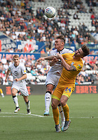 Swansea City's Connor Roberts (left) tackle on  Preston North End's Sean Maguire (right) results in a penalty to Preston North End<br /> <br /> Photographer David Horton/CameraSport<br /> <br /> The EFL Sky Bet Championship - Swansea City v Preston North End - Saturday 17th August 2019 - Liberty Stadium - Swansea<br /> <br /> World Copyright © 2019 CameraSport. All rights reserved. 43 Linden Ave. Countesthorpe. Leicester. England. LE8 5PG - Tel: +44 (0) 116 277 4147 - admin@camerasport.com - www.camerasport.com