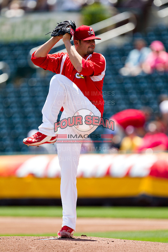 David Kopp (44) of the Springfield Cardinals winds up during a game against the San Antonio Missions on May 30, 2011 at Hammons Field in Springfield, Missouri.  Photo By David Welker/Four Seam Images