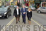 Independent candidate Cllr Michael Cahill canvassing with Kerry's Eye reporter Sinead Kelliher and Jack O'Sullivan in Killorglin town on Friday