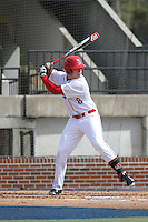 Ball State Cardinals outfielder Alex Call (8) at bat during a game against the University of Kentucky Wildcats at Brooks Field on the campus of University of North Carolina-Wilmington on February 13, 2015 in Wilmington, North Carolina. Kentucky defeated Ball State 11-7. (Robert Gurganus/Four Seam Images)