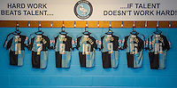 Shirts hang in the changing room during the Sky Bet League 2 match between Wycombe Wanderers and Luton Town at Adams Park, High Wycombe, England on 6 February 2016. Photo by Massimo Martino / PRiME Media Images.