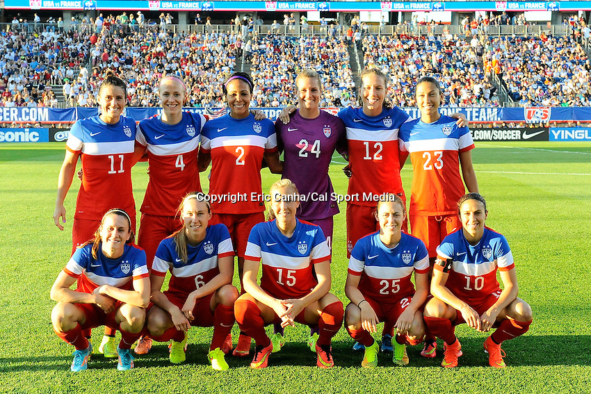 June 19, 2014 - East Hartford, Conn. U.S. - The US National Womens Team poses for a photo before  the USA Women's Soccer friendly game between USA and France held at Rentschler Field in East Hartford Connecticut. The match ended with a 2-2 tied score. Eric Canha/CSM