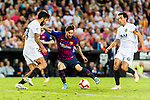 Lionel Messi of FC Barcelona (C) in action against Ezequiel Garay of Valencia CF (L) during their La Liga 2018-19 match between Valencia CF and FC Barcelona at Estadio de Mestalla on October 07 2018 in Valencia, Spain. Photo by Maria Jose Segovia Carmona / Power Sport Images