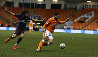 Blackpool's Liam Feeney shields the ball from Arsenal's Mohamed Elneny<br /> <br /> Photographer Stephen White/CameraSport<br /> <br /> Emirates FA Cup Third Round - Blackpool v Arsenal - Saturday 5th January 2019 - Bloomfield Road - Blackpool<br />  <br /> World Copyright © 2019 CameraSport. All rights reserved. 43 Linden Ave. Countesthorpe. Leicester. England. LE8 5PG - Tel: +44 (0) 116 277 4147 - admin@camerasport.com - www.camerasport.com