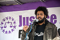 Awate Abdalla (Writer and performer).<br /> <br /> London, 23/02/2015. Today, the &quot;Justice Alliance&quot; and their Chris Grayling puppet dresses as King John Lackland arrived in Westminster for the last day of a tree-day march called &quot;Relay For Rights&quot; from Runnymede, birth place of the Magna Carta, to Old Palace Yard, where they held the &quot;Not the Global Law Summit&quot; rally. At the end of the demonstration outside the Houses of Parliament, protesters marched peacefully to the Queen Elizabeth II Centre where the &quot;Global Law Summit&quot; was taking place. From the organisers Facebook page: &lt;&lt; [&hellip;] February 23rd 2015 is the 799th and 8 month anniversary of the signing of the Magna Carta. The Government is using this non-anniversary to host the Global Law Summit, &quot;a unique opportunity to explore what the future holds for global business and the rule of law&quot;. This back-slapping corporate jamboree, partly funded by the Ministry of Justice, comes at a time when the same department has waged a slash-and-burn campaign on advice and representation, leaving people without deep pockets unable to get justice in court. Magna Carta represents the oldest historical commitment to equal access to justice in Britain. We are here to remind the Government of its duty to provide access to justice for all, and not merely to the rich. [&hellip;]&gt;&gt;<br /> <br /> For more information please click here: http://bit.ly/1G6aHZx
