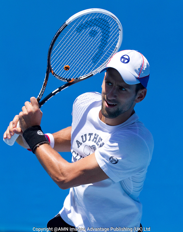 NOVAK DJOKOVIC (SRB) practicing at Melbourne Park..16/01/2012, 16th January 2012, 16.01.2012..The Australian Open, Melbourne Park, Melbourne,Victoria, Australia.@AMN IMAGES, Frey, Advantage Media Network, 30, Cleveland Street, London, W1T 4JD .Tel - +44 208 947 0100..email - mfrey@advantagemedianet.com..www.amnimages.photoshelter.com.