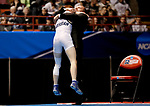 LA CROSSE, WI - MARCH 11: Lucas Malmberg of Messiah celebrates with a coach after beating Zachary Beckner of Ferrum in the 125 weight class during NCAA Division III Men's Wrestling Championship held at the La Crosse Center on March 11, 2017 in La Crosse, Wisconsin. Malmberg beat Beckner 5-1 to win the National Championship. (Photo by Carlos Gonzalez/NCAA Photos via Getty Images)