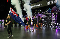 15.09.2018 Silver Ferns Laura Langman leads the team out during Silver Ferns v England netball test match at Spark Arena in Auckland. Mandatory Photo Credit ©Michael Bradley.