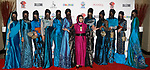 Mayalsian fashion designer Erma Fatima poses with models her Erma Fatima collection fashion show for Couture Fashion Week Spring 2018 at the Crowne Plaza Times Square in Manhattan, on September 8, 2017; during New York Fashion Week.