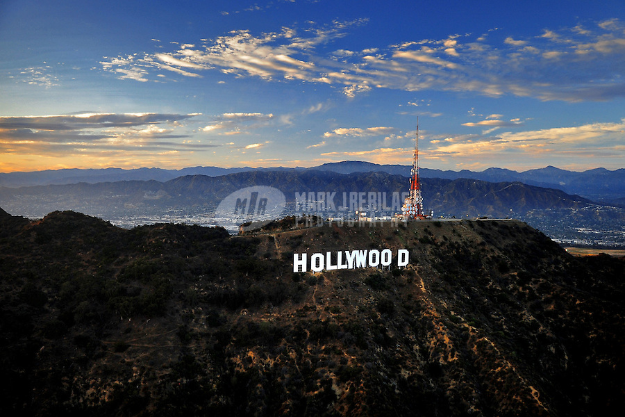 July. 10, 2009; Los Angeles, CA, USA; Aerial views the Hollywood Sign overlooking downtown Los Angeles. Mandatory Credit: Mark J. Rebilas
