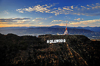 July. 10, 2009; Los Angeles, CA, USA; Aerial views the Hollywood Sign overlooking downtown Los Angeles. Mandatory Credit: Mark J. Rebilas