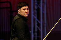 1st March 2020; Waterfront, Southport, Merseyside, England; World Snooker Championship, Coral Players Championship; Yan Bingtao (CHN) looks on during the evening session final against Judd Trump (ENG)