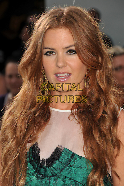 """ISLA FISHER .""""Bruno"""" Los Angeles Premiere held at Grauman's Chinese Theatre, Hollywood, CA, USA..June 25th, 2009 .headshot portrait black green lace white sheer mouth open.CAP/ADM/BP.©Byron Purvis/AdMedia/Capital Pictures."""