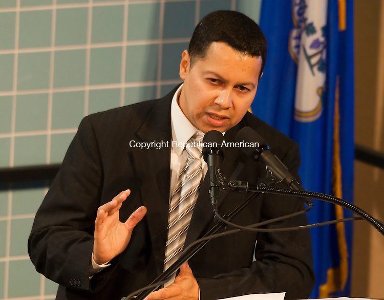 WATERBURY, CT--- -102115JS26--Mayoral Republican candidate Jose Morales, during a debate on education Wednesday at Waterbury Arts Magnet School. <br /> Jim Shannon Republican-American