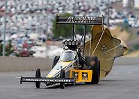 Jul 23, 2017; Morrison, CO, USA; NHRA top fuel driver Tony Schumacher during the Mile High Nationals at Bandimere Speedway. Mandatory Credit: Mark J. Rebilas-USA TODAY Sports