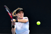 January 15, 2019: Eugenie Bouchard in action in a first round match against Shuai Peng on day two of the 2019 Australian Open Grand Slam tennis tournament in Melbourne, Australia. Majchrzak retired in the fifth set. Bouchard won 62 61. Photo Sydney Low