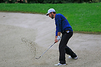Romain Wattel (FRA) chips from a bunker at the 1st green during Saturday's rain delayed Round 2 of the Andalucia Valderrama Masters 2018 hosted by the Sergio Foundation, held at Real Golf de Valderrama, Sotogrande, San Roque, Spain. 20th October 2018.<br /> Picture: Eoin Clarke | Golffile<br /> <br /> <br /> All photos usage must carry mandatory copyright credit (&copy; Golffile | Eoin Clarke)